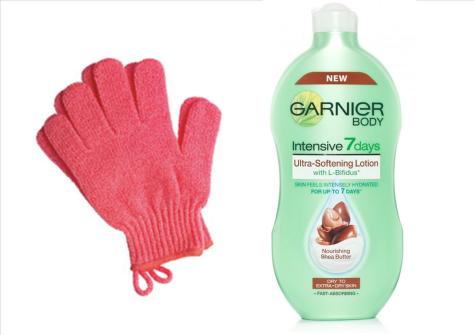 Fake tan maintenance: Exfoliating gloves and Garnier Body 7 days lotion